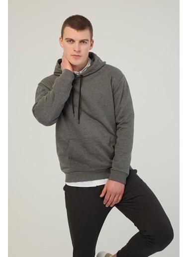 Modaset Kanguru Cepli Kapüşonlu Sweatshirt  Gri